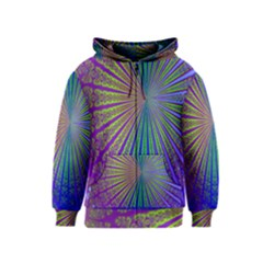 Blue Fractal That Looks Like A Starburst Kids  Zipper Hoodie