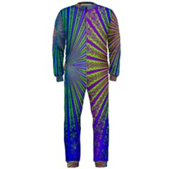 Blue Fractal That Looks Like A Starburst OnePiece Jumpsuit (Men)