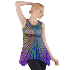Blue Fractal That Looks Like A Starburst Side Drop Tank Tunic