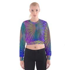 Blue Fractal That Looks Like A Starburst Women s Cropped Sweatshirt