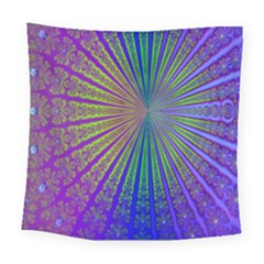 Blue Fractal That Looks Like A Starburst Square Tapestry (large)