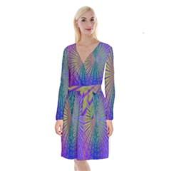 Blue Fractal That Looks Like A Starburst Long Sleeve Velvet Front Wrap Dress