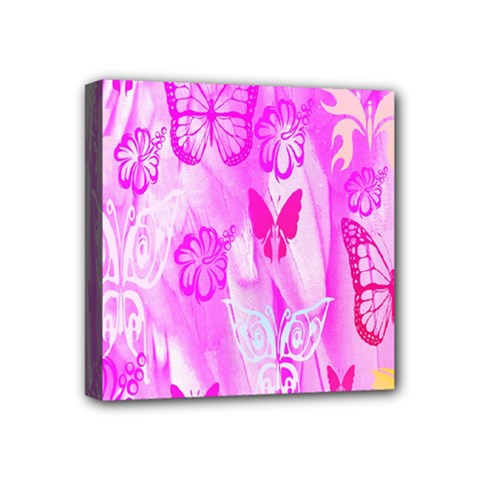 Butterfly Cut Out Pattern Colorful Colors Mini Canvas 4  X 4