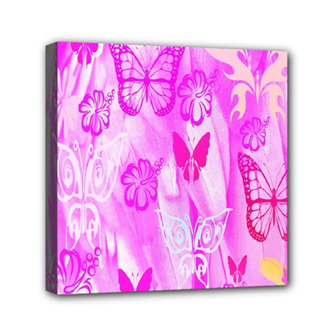 Butterfly Cut Out Pattern Colorful Colors Mini Canvas 6  X 6