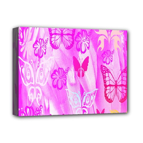 Butterfly Cut Out Pattern Colorful Colors Deluxe Canvas 16  x 12