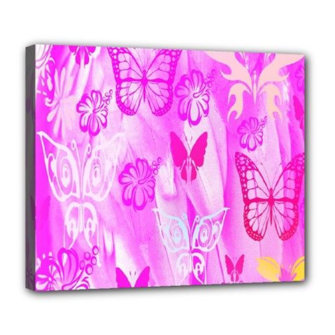 Butterfly Cut Out Pattern Colorful Colors Deluxe Canvas 24  x 20