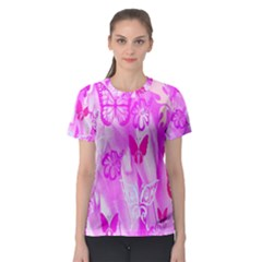 Butterfly Cut Out Pattern Colorful Colors Women s Sport Mesh Tee