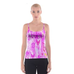 Butterfly Cut Out Pattern Colorful Colors Spaghetti Strap Top