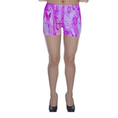 Butterfly Cut Out Pattern Colorful Colors Skinny Shorts