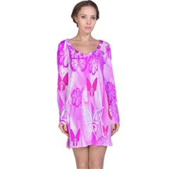 Butterfly Cut Out Pattern Colorful Colors Long Sleeve Nightdress