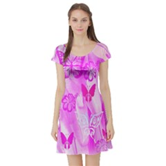 Butterfly Cut Out Pattern Colorful Colors Short Sleeve Skater Dress