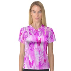 Butterfly Cut Out Pattern Colorful Colors Women s V-Neck Sport Mesh Tee