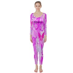 Butterfly Cut Out Pattern Colorful Colors Long Sleeve Catsuit