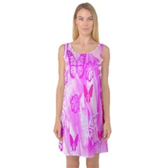 Butterfly Cut Out Pattern Colorful Colors Sleeveless Satin Nightdress