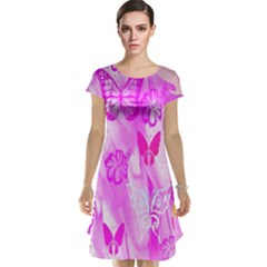 Butterfly Cut Out Pattern Colorful Colors Cap Sleeve Nightdress
