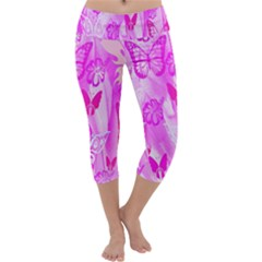 Butterfly Cut Out Pattern Colorful Colors Capri Yoga Leggings