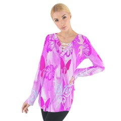 Butterfly Cut Out Pattern Colorful Colors Women s Tie Up Tee