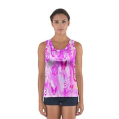 Butterfly Cut Out Pattern Colorful Colors Women s Sport Tank Top