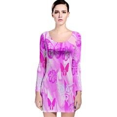 Butterfly Cut Out Pattern Colorful Colors Long Sleeve Velvet Bodycon Dress