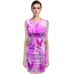 Butterfly Cut Out Pattern Colorful Colors Classic Sleeveless Midi Dress