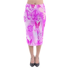 Butterfly Cut Out Pattern Colorful Colors Midi Pencil Skirt
