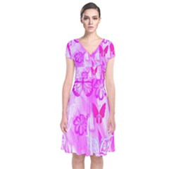 Butterfly Cut Out Pattern Colorful Colors Short Sleeve Front Wrap Dress