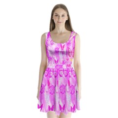 Butterfly Cut Out Pattern Colorful Colors Split Back Mini Dress