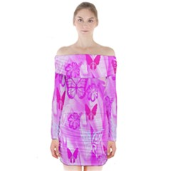 Butterfly Cut Out Pattern Colorful Colors Long Sleeve Off Shoulder Dress