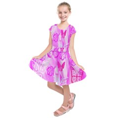 Butterfly Cut Out Pattern Colorful Colors Kids  Short Sleeve Dress