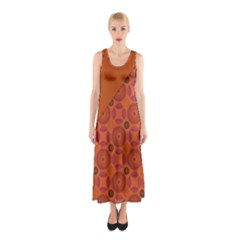 Vintage Paper Kraft Pattern Sleeveless Maxi Dress