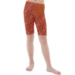 Vintage Paper Kraft Pattern Kids  Mid Length Swim Shorts