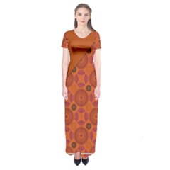 Vintage Paper Kraft Pattern Short Sleeve Maxi Dress