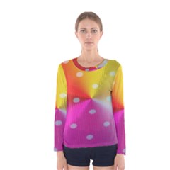 Polka Dots Pattern Colorful Colors Women s Long Sleeve Tee