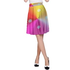 Polka Dots Pattern Colorful Colors A-Line Skirt