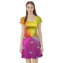 Polka Dots Pattern Colorful Colors Short Sleeve Skater Dress