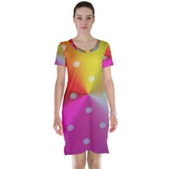 Polka Dots Pattern Colorful Colors Short Sleeve Nightdress