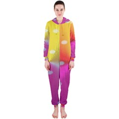 Polka Dots Pattern Colorful Colors Hooded Jumpsuit (Ladies)