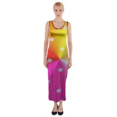 Polka Dots Pattern Colorful Colors Fitted Maxi Dress