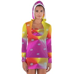 Polka Dots Pattern Colorful Colors Women s Long Sleeve Hooded T Shirt