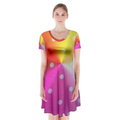 Polka Dots Pattern Colorful Colors Short Sleeve V Neck Flare Dress
