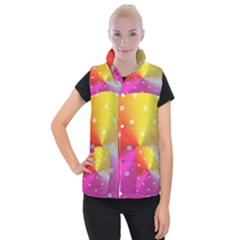 Polka Dots Pattern Colorful Colors Women s Button Up Puffer Vest