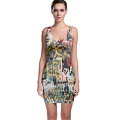 Graffiti Wall Pattern Background Sleeveless Bodycon Dress