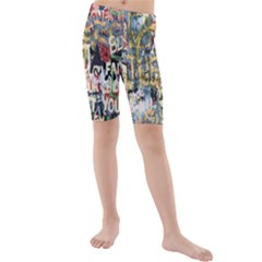 Graffiti Wall Pattern Background Kids  Mid Length Swim Shorts