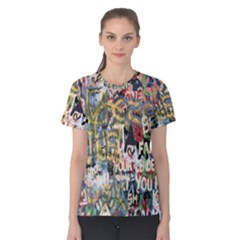 Graffiti Wall Pattern Background Women s Cotton Tee