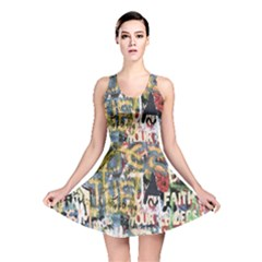 Graffiti Wall Pattern Background Reversible Skater Dress