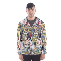 Graffiti Wall Pattern Background Hooded Wind Breaker (men)