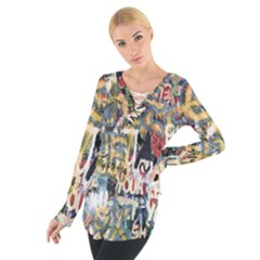 Graffiti Wall Pattern Background Women s Tie Up Tee