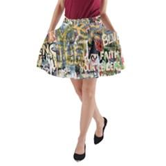 Graffiti Wall Pattern Background A-Line Pocket Skirt
