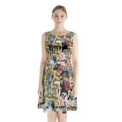 Graffiti Wall Pattern Background Sleeveless Chiffon Waist Tie Dress