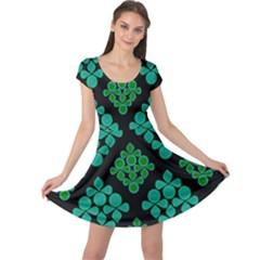 Vintage Paper Kraft Pattern Cap Sleeve Dresses